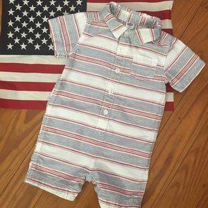 Old Navy Red,White, & Blue Linen Shorts Romper